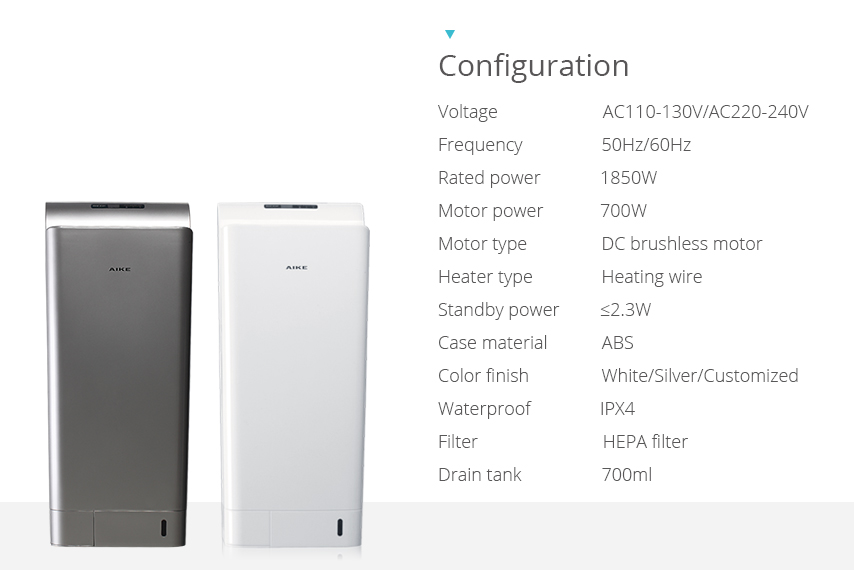 High power air jet fastdry hand dryer AK203 specification